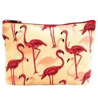 Pouch Bag Flamingo Dompet Tas Kosmetik Cosmetic Pouch Bag Kanvas Motif
