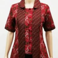 Blouse Blus Kemeja Atasan Seragam Wanita Batik 2442 Merah