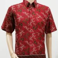 Kemeja Hem Atasan Baju Seragam Pria Batik Murah 2443 Merah BIG SIZE
