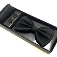 Gift Set Dasi Kupu Bintik, Pocket Square Handkerchief, Cufflinks