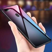Oppo F9 - F9 Pro Case Luxury Tempered Glass Hard Back Soft TPU Case