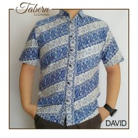 Kemeja Batik Cap Parang Biru Premium/ Blue Batik Shirt Premium - DAVID