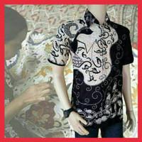 Hem arjuna kemeja batik wayang batik hitam manis baju batik pekalongan