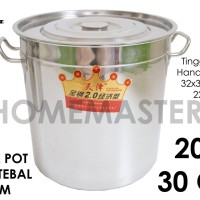 Panci Kuah/Kaldu/Stock Pot Stainless Tebal 2 mm 30 Cm/20 L DYT230