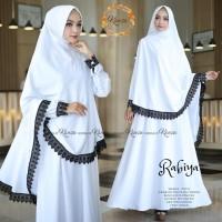 rabiya syari setelan baju muslim cadar niqab polos busui putih hitam