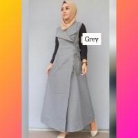 baju muslim wanita overall jamsuit jumper jumpsuit maxi jumsuit grey