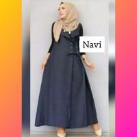 baju muslim wanita overall jamsuit jumper jumpsuit maxi jumsuit navi