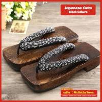 Geta / Sandal Bakiak Jepang : Black Sakura