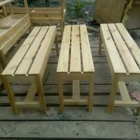 bangku panjang jari2 100x30x45cm dari kayu jati belanda