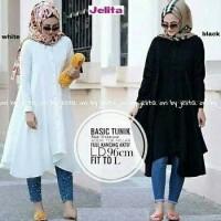 vbn basic tunik putih hitam twiscone / baju wanita blouse kaos cewek