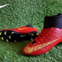 Sepatu Sepak Bola Nike Mercurial Superfly CR7 High Merah List Kuning