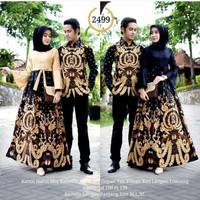 baju batik couple gamis untuk pesta anak muda modern model kombinasi