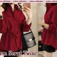 Hem serut Twisc Red wine [Baju Atasan Wanita 0153] RKN