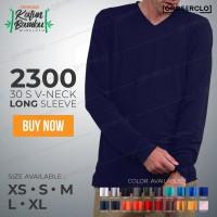 Kaos Polos WINCLOTH 2300 Lengan Panjang V neck Katun Bambu S M L XL