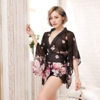 Japan Lingerie Baju Tidur Pakaian Dalam Kimono Bunga Flower Obi Sexy