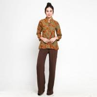 Baju Atasan Kerja Wanita Kerah Shanghai Motif Batik Truntum