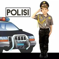 Baju Seragam Profesi Anak Polisi Kostum Setelan Cowok