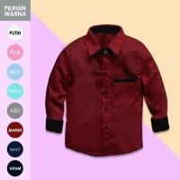 Merah Maroon Kemeja Anak Polos Lengan Panjang KIDSHIRT |Baju 1-8 Tahun