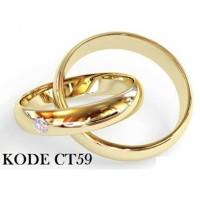 Cincin Couple Pria Wanita Gold Emas Slim Mata Titanium Stainless Steel