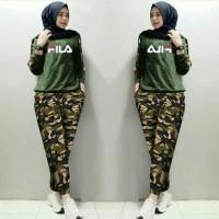Baju Wanita Pakaian Perempuan Setelan Fila Army Fimy Ladies