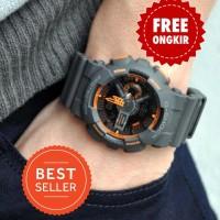 BEST SELLER ! Jam Casio GA-110 G-Shock GShock Grey Orange Original BM