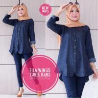 baju wanita blouse tunik fila wings jeans muslim modern modis lucu