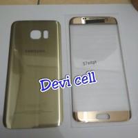 BACK DOOR CASING PLUS KACA DEPAN LCD SAMSUNG S7 EDGE G935 ORI. GOLD