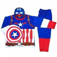 Baju Tidur Anak / Piyama Anak / Kostum Topeng Captain America