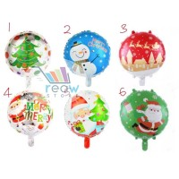 Balon Foil Natal / Merry Christmas Bulat Aneka Karakter