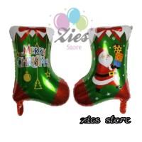 balon foil merry christmas santa socks / balon kaos kaki natal