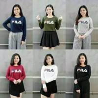 Terlaris Baju wanita FILA lengan PANJANG fit L pakaian kekinian
