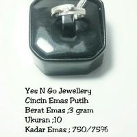 Cincin emas putih 3 gram ,uk 10 ,750/75%
