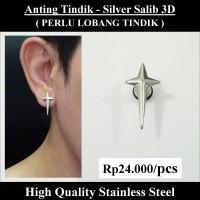 Anting Tindik Cowok Pria - Silver Salib 3D