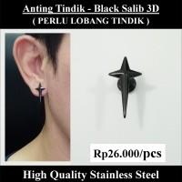 Anting Tindik Cowok Pria - Black Salib 3D
