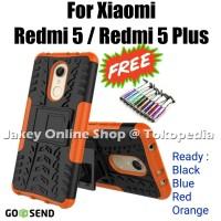 Xiaomi Redmi 5 - 5 Plus RUGGED ARMOR soft case casing back cover stand - Black, Redmi 5 Plus