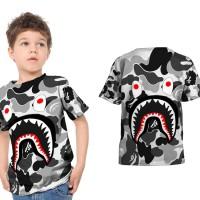 Tshirt Kaos Anak Unisex CAMO BAPE SHARK 3D Fullprint Art 04