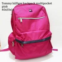 Tommy hilfiger backpack multipocket pink tas asli original bag