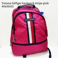 Tommy hilfiger backpack stripe pink tas asli original bag