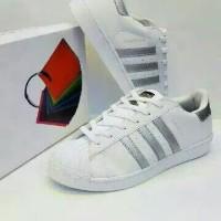 sepatu sneakers adidas superstar putih silver unisex cewek cowok 37-44