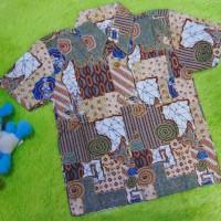 motif abstrak cokelat baju batik bayi anak laki-laki kemeja batik bati