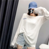 Baju Kaos Lengan Panjang Wanita White Comfort Thin Import Original