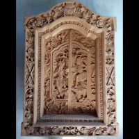 Jendela Tradisional Gebyok Jati Ukiran Bali Rama & Shinta