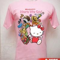 Kaos Hello Kitty Travelling Ukuran S sd XL
