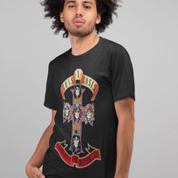 Guns And Roses Cross Kaos Band Printed In Gildan Shirt