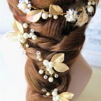 Hair Pin / Pin Jepit Hiasan Rambut Sanggul Pesta Bunga Emas & Mutiara