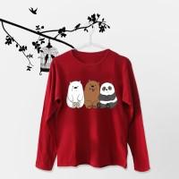 Tumblr Tee / T-Shirt / Kaos Wanita Lengan Panjang We Bare Bears Maroon