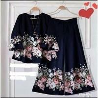 iv St Susan Flower blouse celana setelan pakaian muslim wanita baju