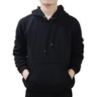 Jaket Polos Pria Cowok Hoodie Jumper Sweater Hitam Pekat Keren Gaul - Hitam, L