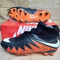 Sepatu Sepak Bola Nike Hypervenom High Hitam Oren List Putih Import
