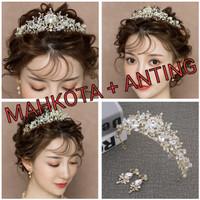 Mahkota rambut set anting tiara wedding hiasan pesta pengantin CC21S